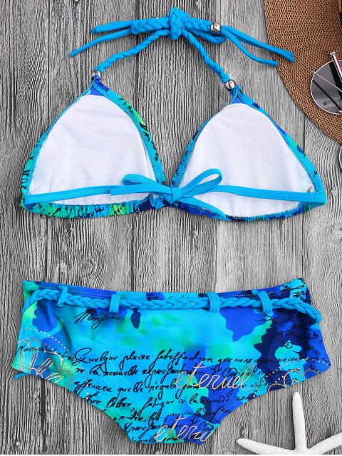shops Letter Graphic Braided Halter Bikini Set - BLUE L Mobile