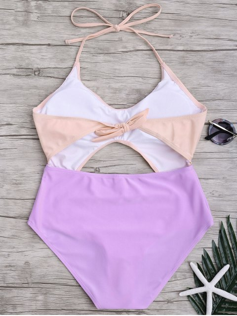 chic Ruched Color Block Cutout One Piece Swimsuit - PINK AND PURPLE M Mobile