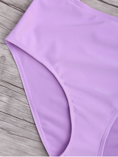 fancy Ruched Color Block Cutout One Piece Swimsuit - PINK AND PURPLE S Mobile