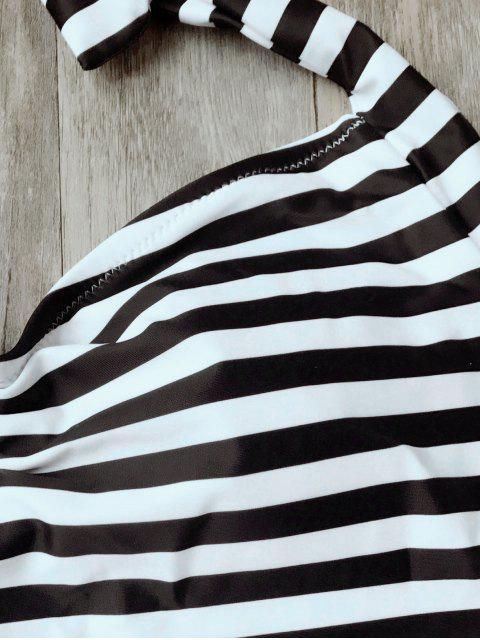Maillot de Bain 1 Pièce Dos Ouvert à Rayures Rembourré - Blanc et Noir L Mobile