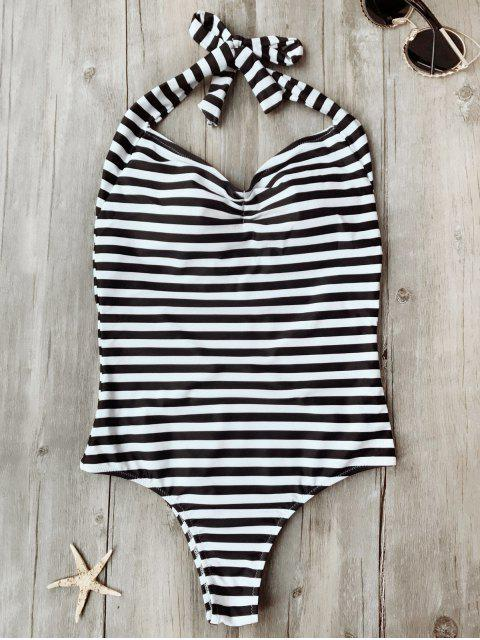 affordable Open Back Striped Padded One Piece Swimsuit - WHITE AND BLACK S Mobile