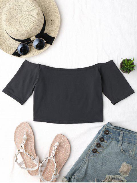 Top court en coton à épaules tombantes - Gris Taille Unique Mobile