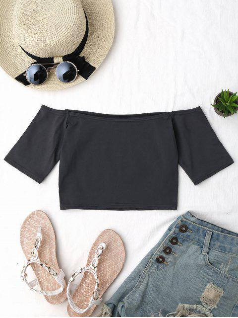 women's Cropped Cotton Off Shoulder Top - GRAY ONE SIZE Mobile