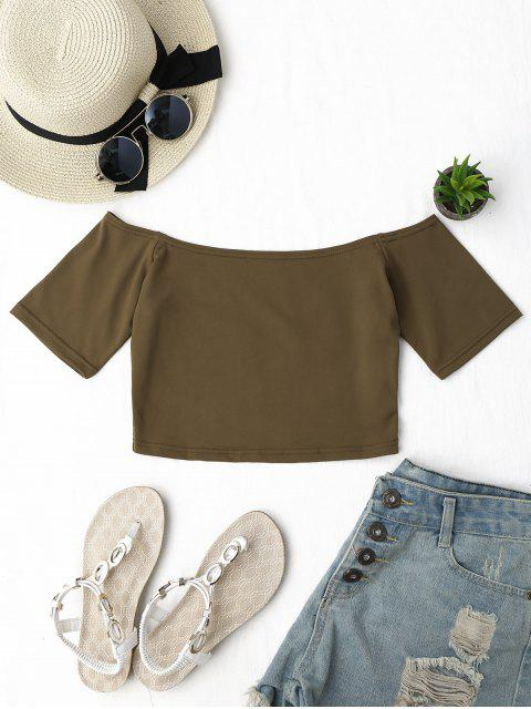 ladies Cropped Cotton Off Shoulder Top - COFFEE ONE SIZE Mobile