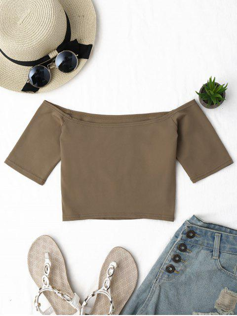lady Cropped Cotton Off Shoulder Top - KHAKI ONE SIZE Mobile