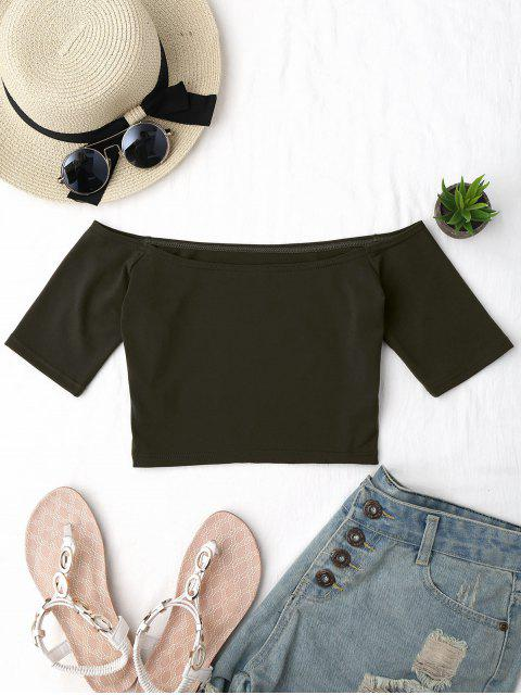 online Cropped Cotton Off Shoulder Top - ARMY GREEN ONE SIZE Mobile