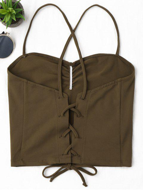 trendy Ruched Cropped Lace Up Tank Top - COFFEE S Mobile