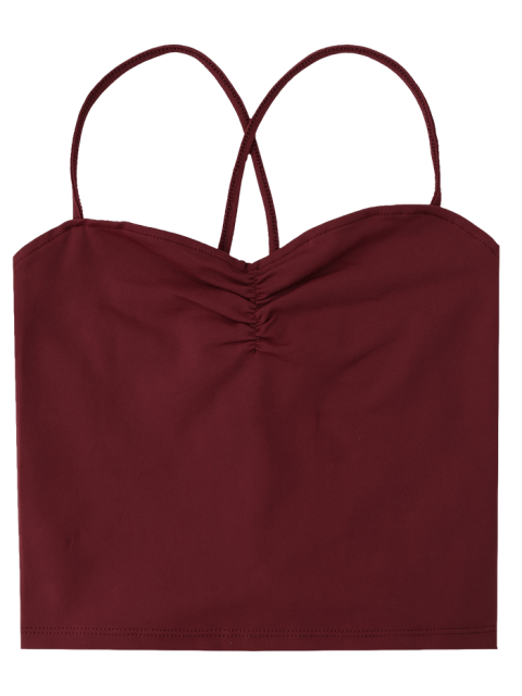 chic Ruched Cropped Lace Up Tank Top - WINE RED S Mobile