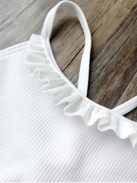 outfits Ruffles Rib Textured Bralette Bikini - WHITE M Mobile