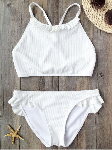 shop Ruffles Rib Textured Bralette Bikini - WHITE S Mobile