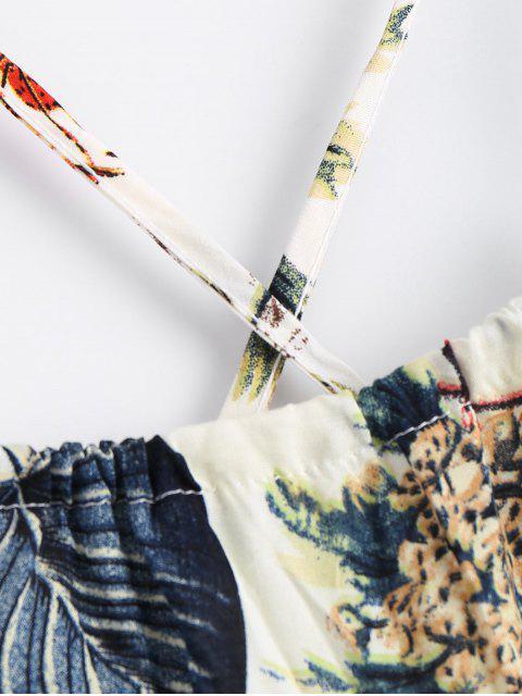 ladies Printed Criss Cross Cami Romper - MULTI S Mobile