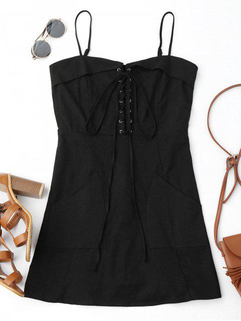 online Lace Up Slip Mini Dress with Two Pockets - BLACK S Mobile