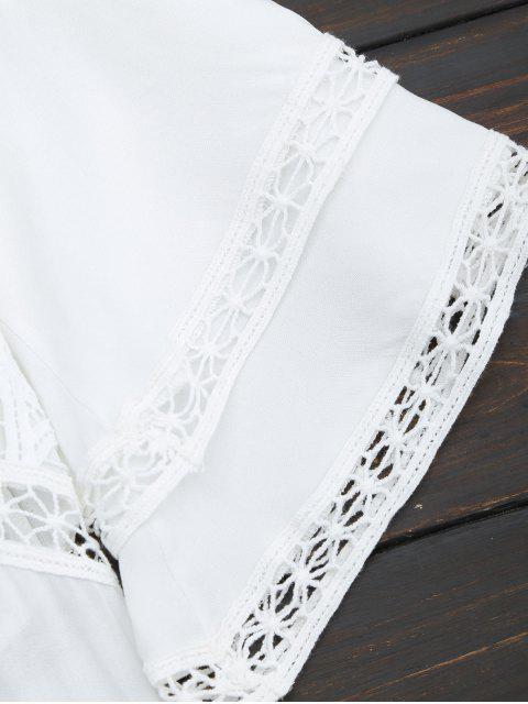 shop Crochet Plunge Beach Kaftan Cover Up - WHITE M Mobile