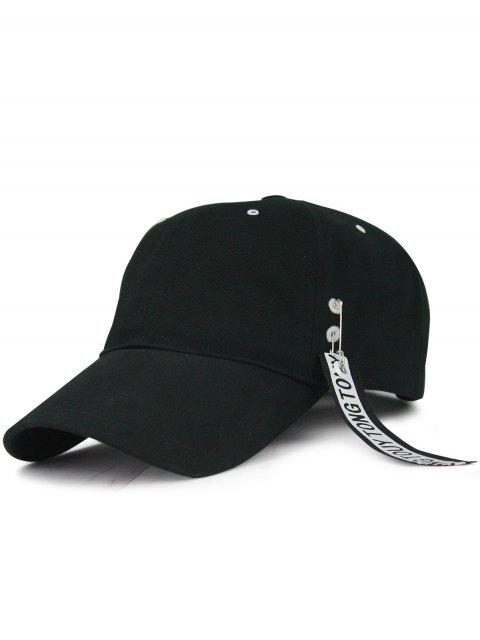 sale Streamer Letters Circle Ring Embellished Baseball Hat - BLACK  Mobile