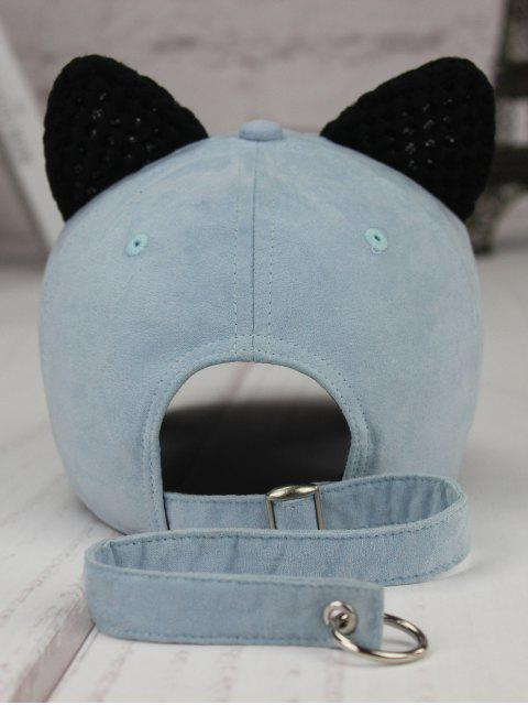 fancy Metal Letter Cat Ear Embellished Long Tail Hat - LIGHT BLUE  Mobile