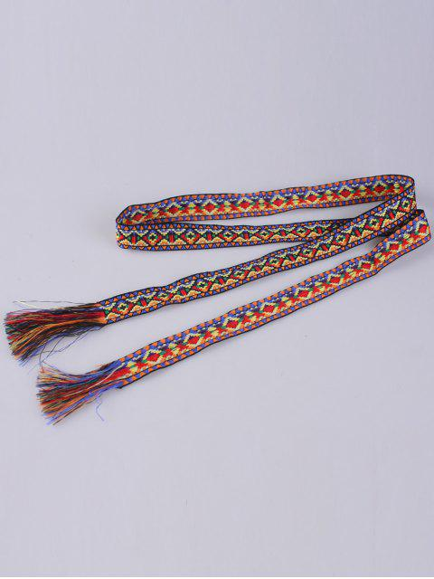 outfits Ethnic Retro Woven Fringed Waist Strap - BLUE+YELLOW+RED  Mobile
