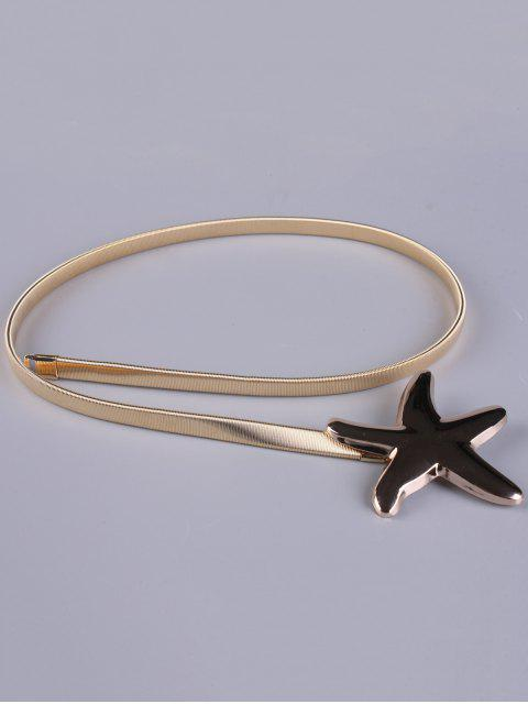 womens Plated Metal Starfish Buckle Coat Belt - GOLDEN  Mobile