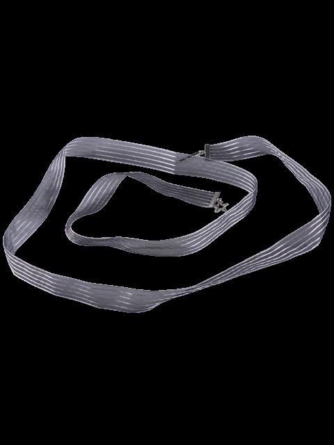lady Metal Pentagram Embellished Ribbon Waist Strap -   Mobile