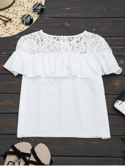 shop Ruffles Lace Panel Top - WHITE L Mobile