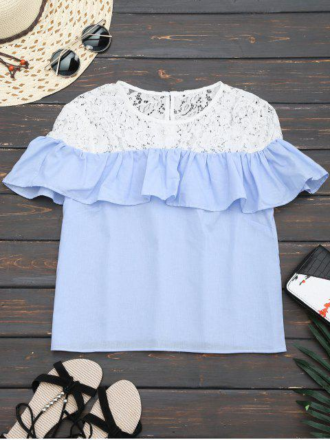 fashion Ruffles Lace Panel Top - LIGHT BLUE M Mobile