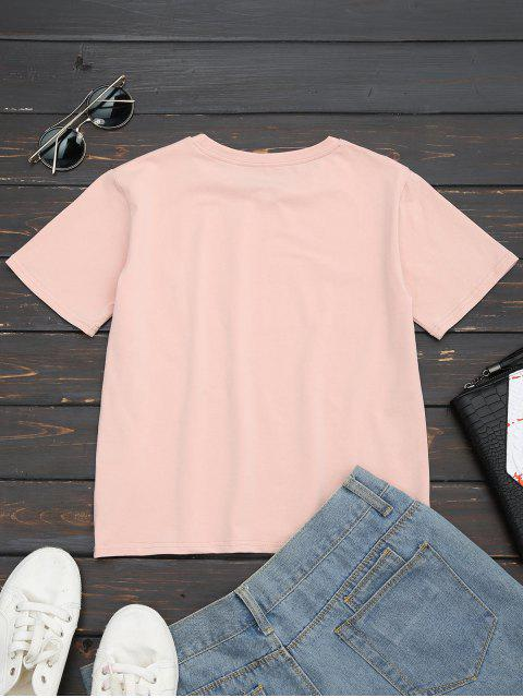 affordable Cotton Letter Rose Embroidered T-Shirt - PINK M Mobile
