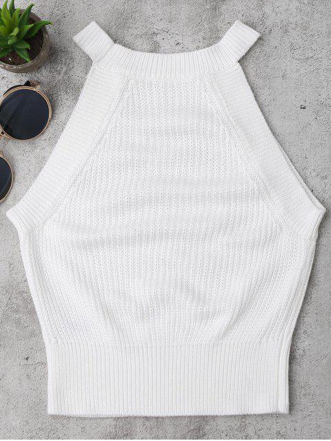 women Knitting High Neck Tank Top - WHITE M Mobile