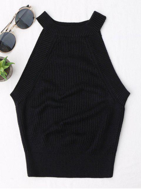 best Knitting High Neck Tank Top - BLACK S Mobile