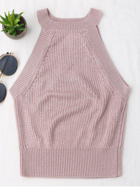 shop Knitting High Neck Tank Top - PINK S Mobile