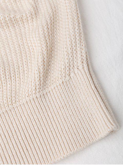 trendy Knitting High Neck Tank Top - OFF-WHITE S Mobile