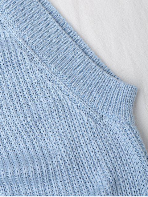fashion Knitting High Neck Tank Top - LIGHT BLUE L Mobile