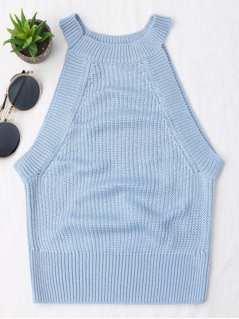 fancy Knitting High Neck Tank Top - LIGHT BLUE S Mobile