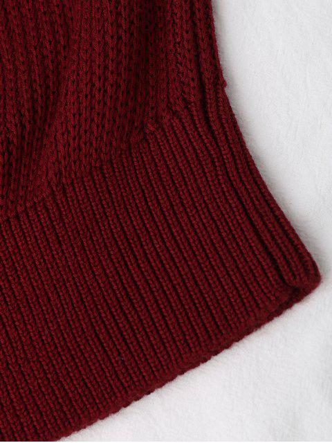 sale Knitting High Neck Tank Top - WINE RED M Mobile