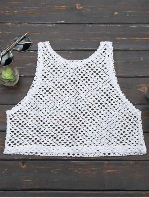 buy Cropped Fishnet Cut Out Tank Top - WHITE ONE SIZE Mobile