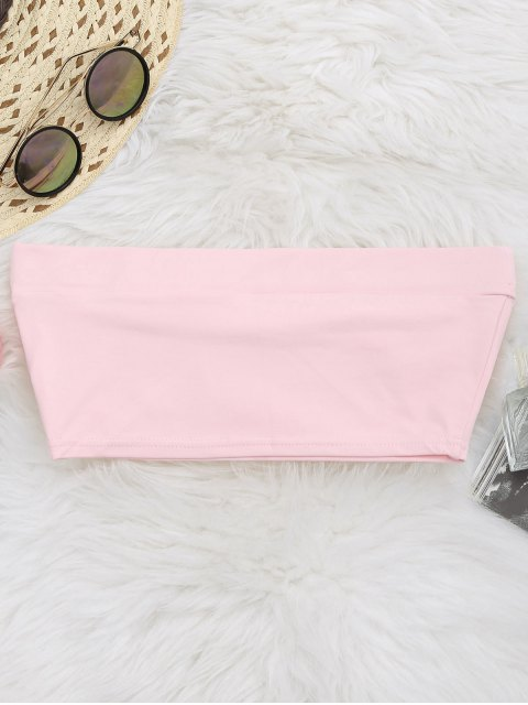 online Elastic Cotton Tube Top - PINK S Mobile