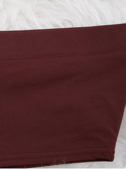 outfits Elastic Cotton Tube Top - WINE RED S Mobile