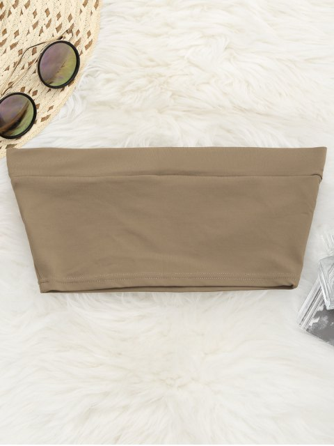 Elastisches Baumwolltube Top - Khaki S Mobile