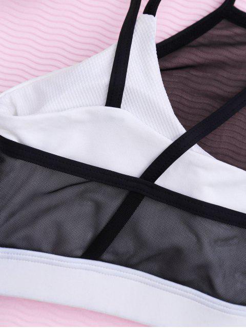 affordable Criss Cross Padded Mesh Sporty Bra - BLACK M Mobile
