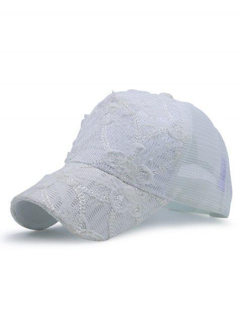 Sombrero de béisbol del cordón del cequi empalmado - Blanco  Mobile