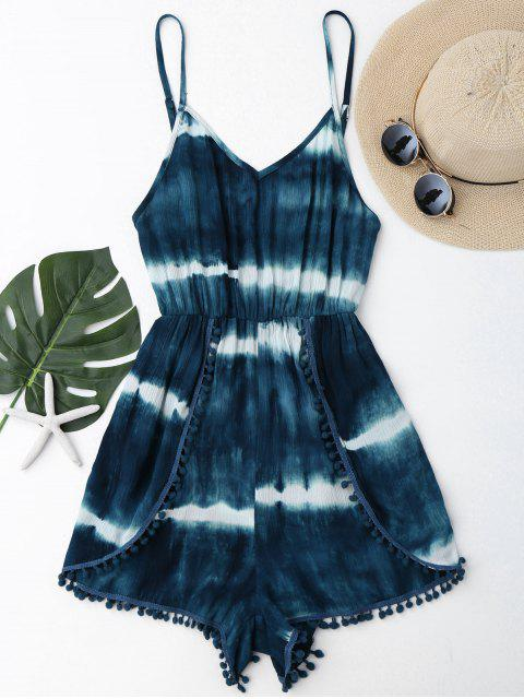 latest Cami Tie-Dyed Pom Dolphin Cover Up Romper - MALACHITE GREEN S Mobile