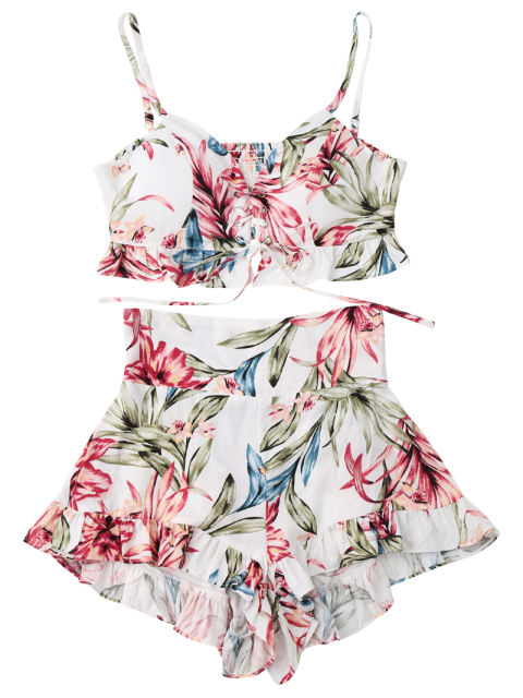 Ruffles Floral Shirred Lace Up Top avec Shorts - Blanc S Mobile