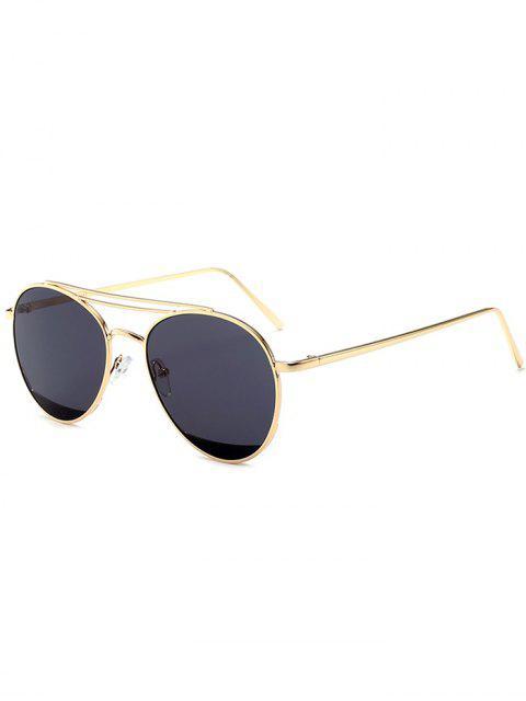 Double Metal Crossbar Anti UV Pilot Sonnenbrille - schwarz grau   Mobile