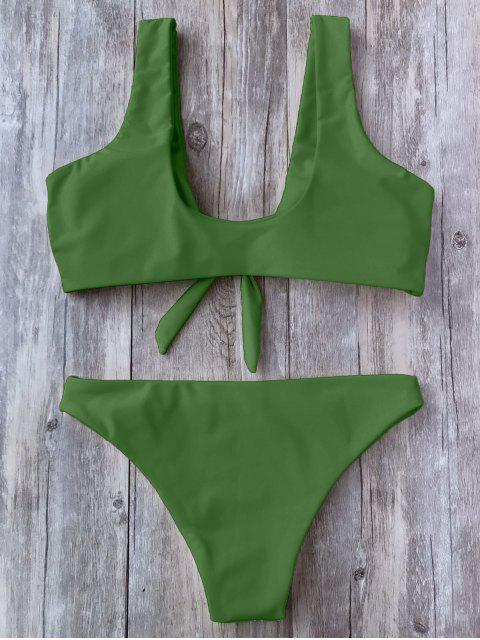 outfits Knotted Scoop Bikini Top and Bottoms - GREEN L Mobile