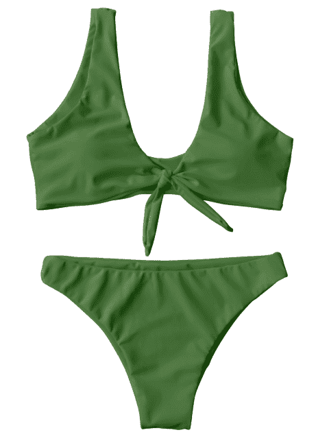 shops Knotted Scoop Bikini Top and Bottoms - GREEN S Mobile
