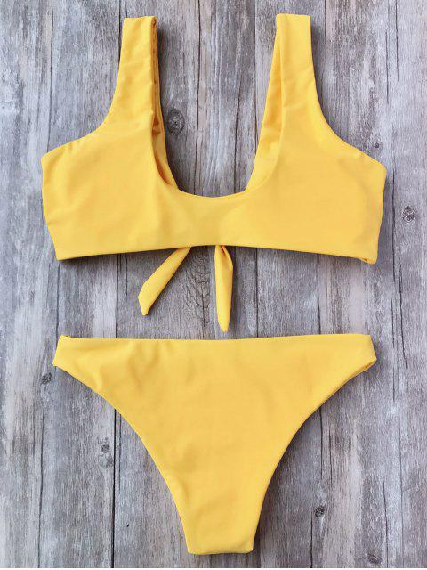 unique Knotted Scoop Bikini Top and Bottoms - YELLOW S Mobile