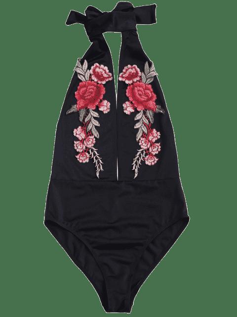 shop Backless Floral Applique Choker Swimsuit - BLACK L Mobile