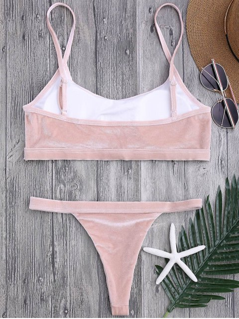 outfits V String Thong Bralette Bikini Set - PINK M Mobile