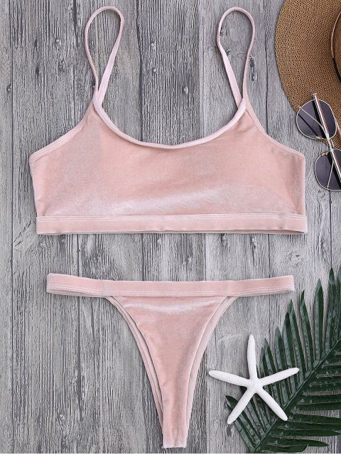 shop V String Thong Bralette Bikini Set - PINK S Mobile
