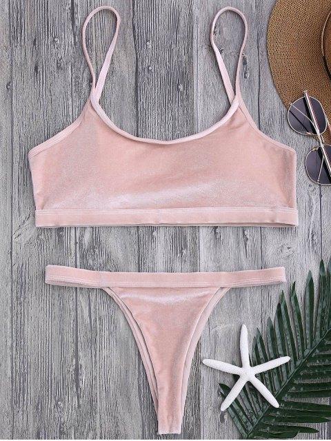 shop V String Thong Bralette Bikini Set - PINK S Mobile