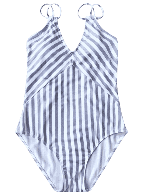 Maillot de Bain 1 Pièce Amincissant Rayé à Bretelles Doublés - Blanc + Pourpre M Mobile