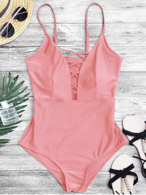 women's Shaping Crisscross Plunge One Piece Swimsuit - PINK S Mobile